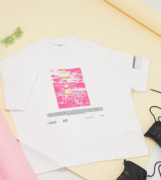 Collusion Unisex oversized t-shirt with print in white