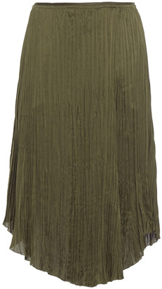 Vince Plisse Satin-crepe Midi Skirt