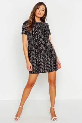 boohoo Heart Print Shift Dress
