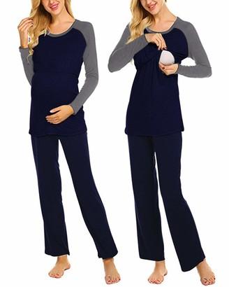 SUNNYME Women's Maternity Nursing Pyjamas Set Breastfeeding Sleepwear Long Sleeve Cotton Pjs Nightwear Loungewear Navy Large