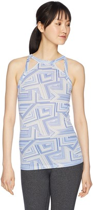 2xist Women's Printed Cotton Halter Tank Top with Cutout Shirt