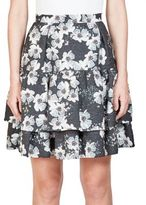 Erdem Aine Tiered Floral-Print Skirt