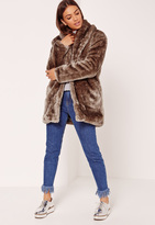 Missguided Pressed Faux Fur Coat Brown