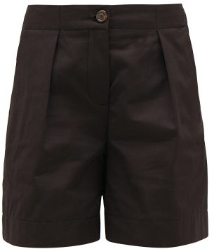 See by Chloe Tailored Pleat-front Cotton-blend Shorts - Womens - Black
