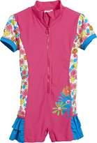 Playshoes Girl's Blumenmeer mit UV-Schutz Swimsuit, Multicoloured (pink)