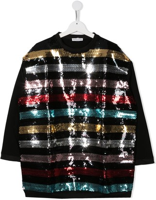 Sonia Rykiel Enfant TEEN sequin-stripe sweatshirt