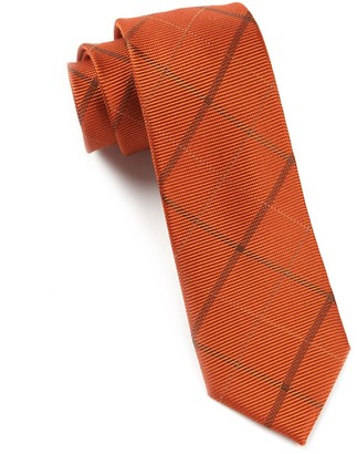 Tie Bar Sheridan Plaid Orange Tie