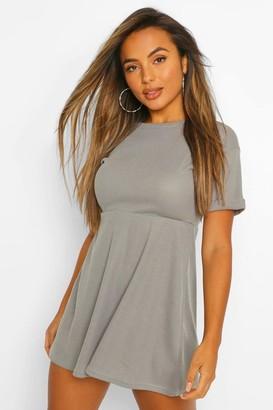 boohoo Petite Knitted Rib Turn Up Sleeve Smock Dress