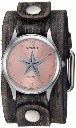 Nemesis Women's Little Star Stainless Steel Quartz Leather Strap Grey 38 Casual Watch (Model: FGB355P)