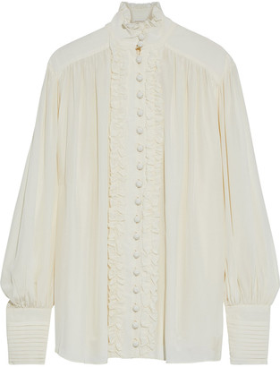 Zimmermann Espionage Smock Frill Silk Crepe De Chine Blouse