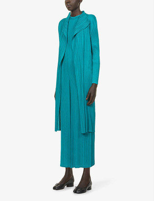 Pleats Please Issey Miyake Basic pleated crepe coat