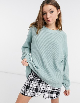Hollister crew neck knitted jumper in grey