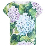 Dolce & Gabbana Dolce & GabbanaGirls Green Hydrangea Print Cotton Top