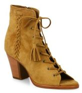 Frye Dani Whipstitch Suede Lace-Up Booties
