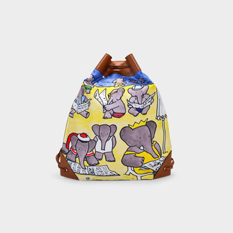 Lanvin Drawstring Bag In Multicoloured Fabric And Brown Leather