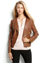 Calvin Klein Quilted Faux-Leather Zip-Front Moto Jacket