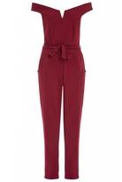Quiz Berry Bardot Tie Waist Jumpsuit