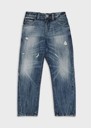 Emporio Armani Stonewashed, Ripped Denim Jeans