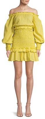 Alexis Marilena Smocked Polka Dot Off-The-Shoulder Mini Dress