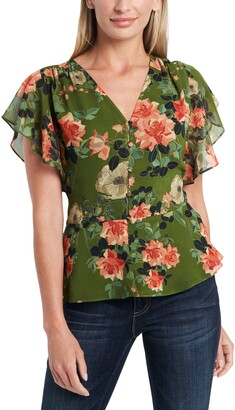 Vince Camuto Guilded Floral Print Peplum Top