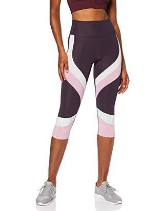 Aurique BAL13 Gym Leggings Women, (Black/White/Nightshade), 8 (Size:)