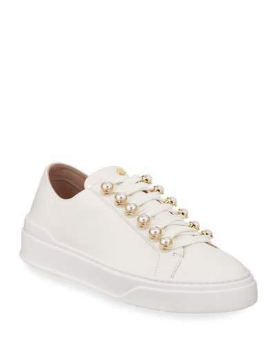 Stuart Weitzman Excelsa Pearly-Detail Leather Low-Top Sneakers