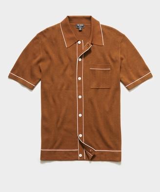Todd Snyder Italian Cotton Silk Short Sleeve Full Placket Polo in Hazelnut