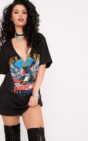 PrettyLittleThing Rock and Riot Slogan Extreme Plunge Cut Out T Shirt Dress