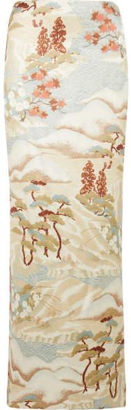 Giorgio Armani Printed Silk-blend Satin Maxi Skirt - Beige