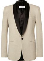 Maison Margiela Ecru Slim-Fit Satin-Trimmed Cotton-Tweed Tuxedo Jacket