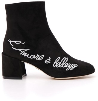 Dolce & Gabbana Embroidered Chunky Ankle Boots