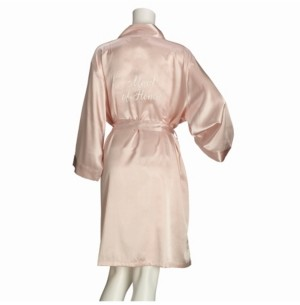 Lillian Rose Blush Satin Maid of Honor Robe, Online Only