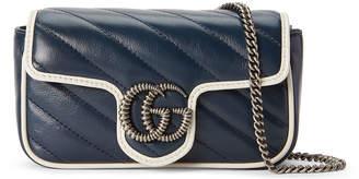 Gucci GG Marmont Torchon Super Mini Crossbody Bag - Silver Hardware