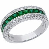 Amoro 18kt White Gold Emerald and Diamond Ring (0.37 cttw, G-H Color, SI1-SI2 Clarity)