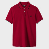 Paul Smith Men's Burgundy Embroidered PS Logo Organic-Cotton Polo Shirt