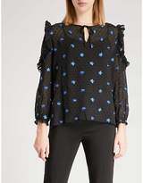 Maje Floral-embroidered ruffled top