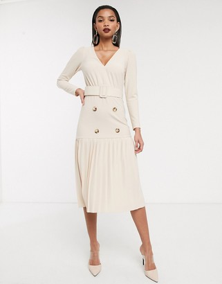 Asos Design DESIGN Long sleeve double breasted pleated midi dress-Cream