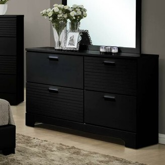 Wildon Home Moderno 4 Drawer Double Dresser with Mirror Color: Black