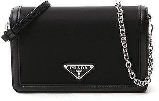 Prada Logo Plaque Fold Over Shoulder Bag