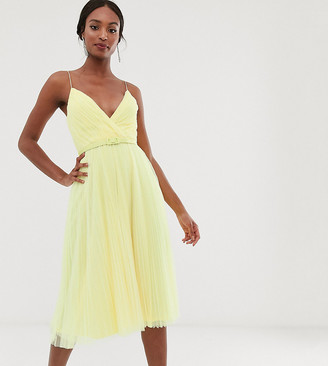 Asos Tall DESIGN Tall belted pleated tulle cami midi dress-Yellow
