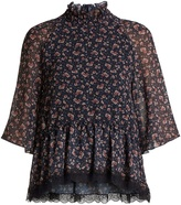 See by Chloe Rose-print dropped-waist georgette top