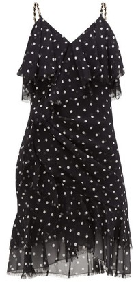 Balmain Ruffled Polka-dot Silk-georgette Mini Dress - Womens - Black White