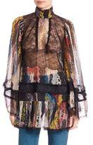Roberto Cavalli Bell-Sleeve Lace & Ruffle Silk Tunic