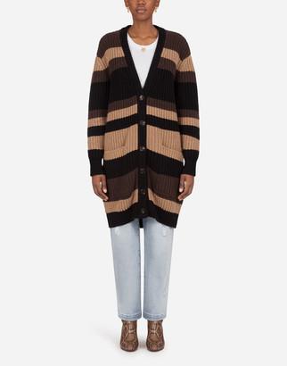 Dolce & Gabbana Cashmere Cardigan In Striped Fishermans Rib Stitch