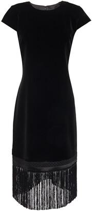 Elie Tahari Olive Fringe-trimmed Velvet Mini Dress