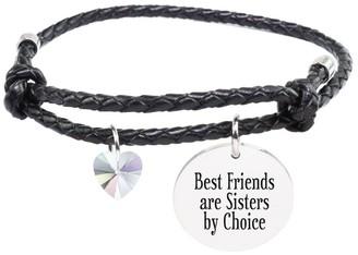Pink Box Genuine Adjustable Leather Cord Bracelet - BEST FRIENDS