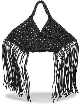 Yuzefi Small Fringe-Trimmed Macrame Basket Bag