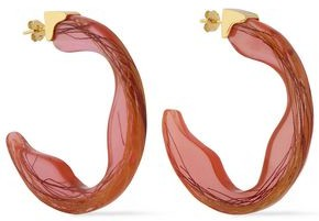EJING ZHANG Scilla 18-karat Gold-plated Resin Hoop Earrings