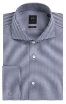 Hugo Boss T-Yacob Slim Fit, Italian Cotton French Cuff Dress Shirt 14.5 Blue