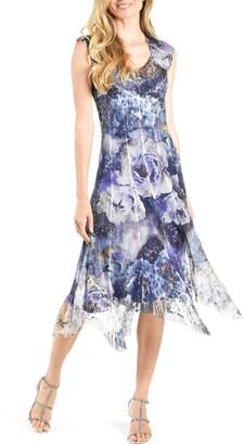 Komarov Floral Chiffon & Lace Handkerchief Hem Midi Dress